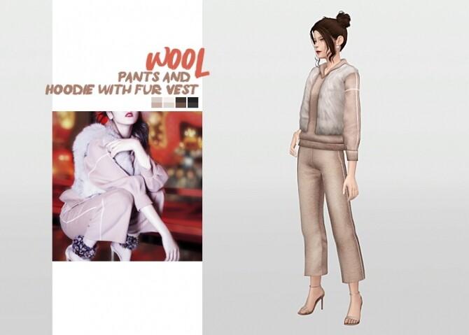Sims 4 Wool Hoodie with Fur Vest + Wool Pants at Waekey