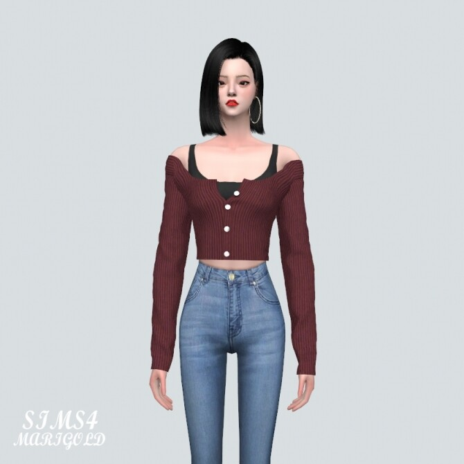 Sims 4 OO Off Shoulder Cardigan at Marigold