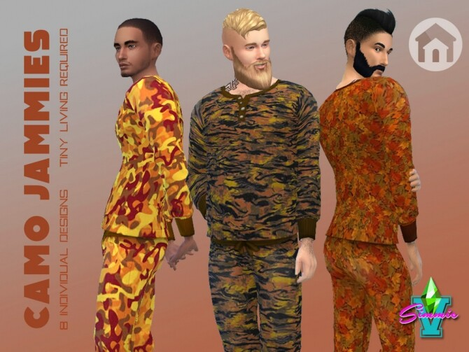Sims 4 Camo Jammies by SimmieV at TSR