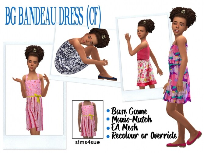 Sims 4 BG BANDEAU DRESS CF at Sims4Sue