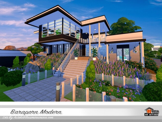 Sims 4 Baraporn Modern house by autaki at TSR