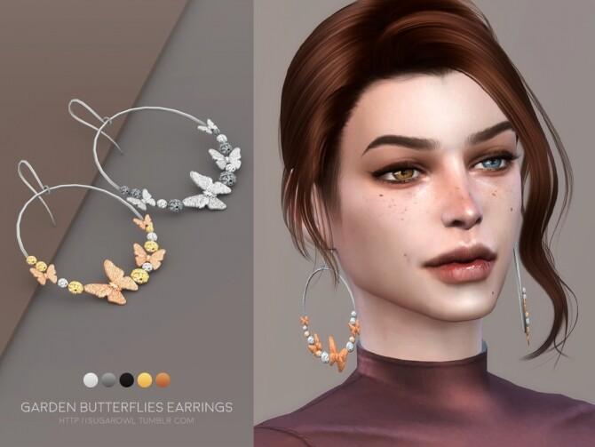 Sims 4 Garden Butterflies earrings by sugar owl at TSR