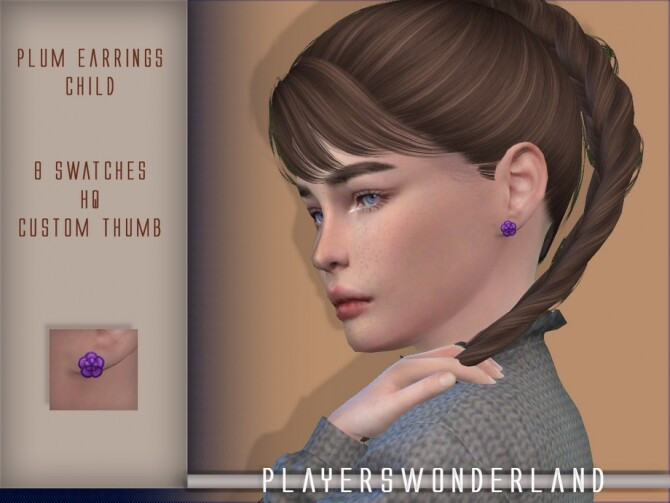 Plum Earrings CHILD by PlayersWonderland at TSR image 3020 670x503 Sims 4 Updates