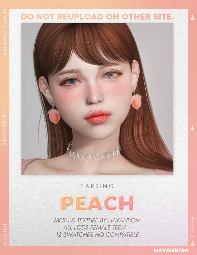 PEACH EARRINGS at Hayanbom image 3034 670x867 Sims 4 Updates