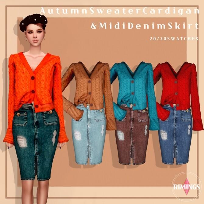 Autumn Sweater Cardigan & Midi Denim Skirt at RIMINGs image 3041 670x670 Sims 4 Updates