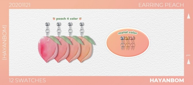 PEACH EARRINGS at Hayanbom image 3044 670x295 Sims 4 Updates