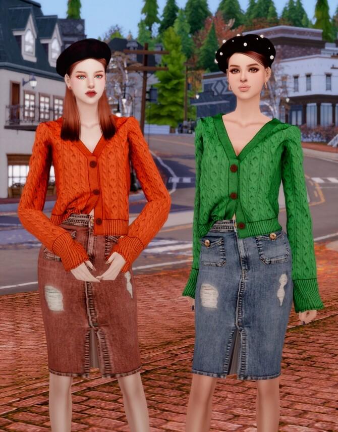 Autumn Sweater Cardigan & Midi Denim Skirt at RIMINGs image 3051 670x856 Sims 4 Updates