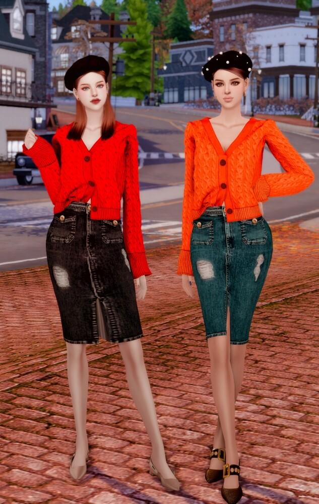 Autumn Sweater Cardigan & Midi Denim Skirt at RIMINGs image 3061 633x1000 Sims 4 Updates