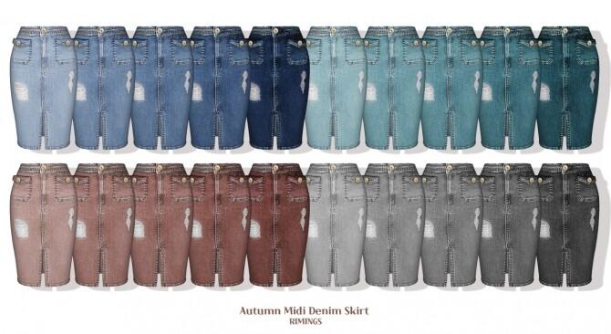 Autumn Sweater Cardigan & Midi Denim Skirt at RIMINGs image 3081 670x366 Sims 4 Updates