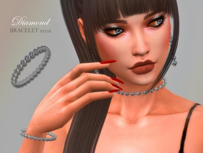 Sims 4 Diamond Bracelet by Suzue at TSR