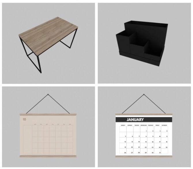 Sims 4 Minimal Desk, Tjena Desk Organiser & Horizontal Wall Calendar at Heurrs