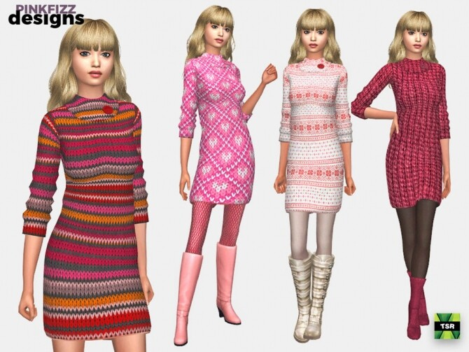 Sims 4 Pink Sweater Dress by Pinkfizzzzz at TSR