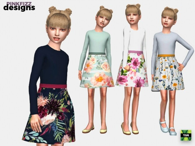 Sims 4 Junior Flora Dress by Pinkfizzzzz at TSR