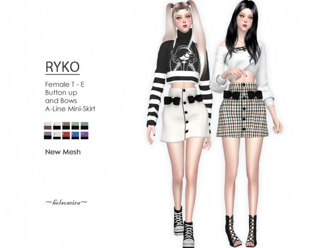 Sims 4 RYKO A Line Mini Skirt by Helsoseira at TSR