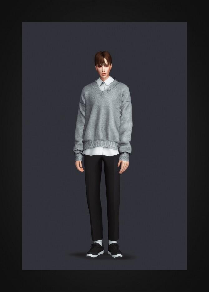 Sims 4 V Neck Sweater & Shirt II at Gorilla