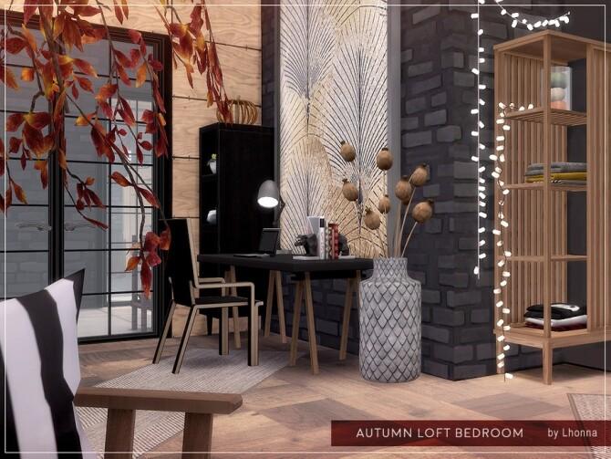 Sims 4 Autumn Loft Bedroom by Lhonna at TSR
