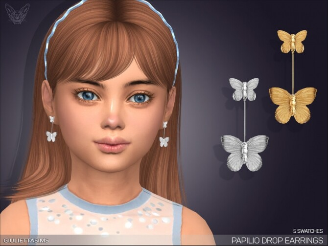 Papilio Drop Earrings For Kids by feyona at TSR image 385 670x503 Sims 4 Updates
