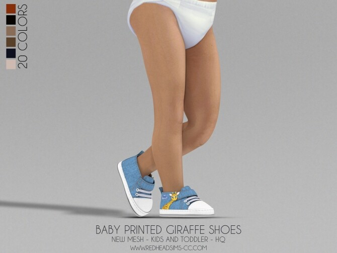 Sims 4 BABY PRINTED GIRAFFE SHOES KIDS AND TODDLER at REDHEADSIMS