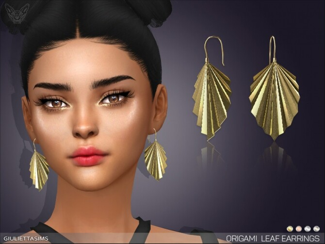 Origami Leaf Earrings by feyona at TSR image 4010 670x503 Sims 4 Updates