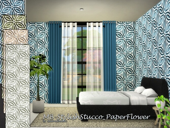 Sims 4 MB Stylish Stucco Paper Flower by matomibotaki at TSR