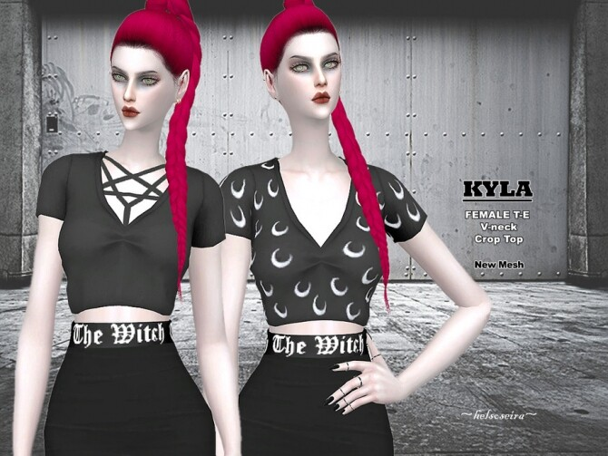 Sims 4 KYLA Goth Crop Top by Helsoseira at TSR