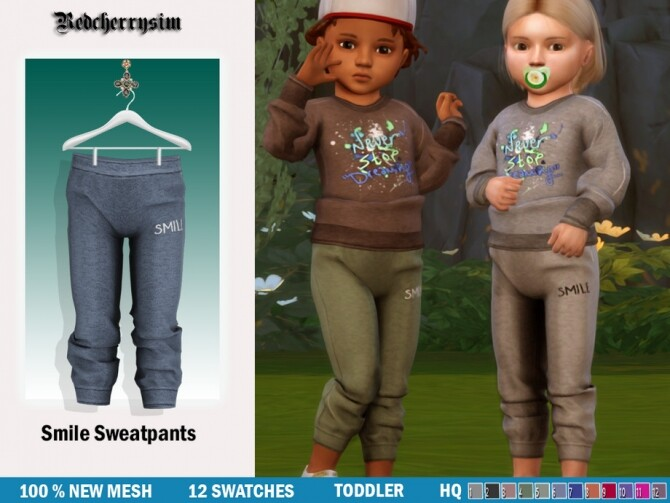 Sims 4 Smile Sweatpants by redcherrysim at TSR