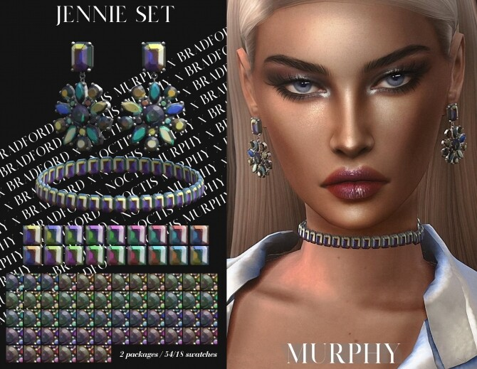 Sims 4 Jennie choker & earrings at MURPHY