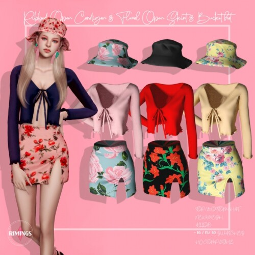 Ribbed Open Cardigan Floral Open Skirt Bucket hat