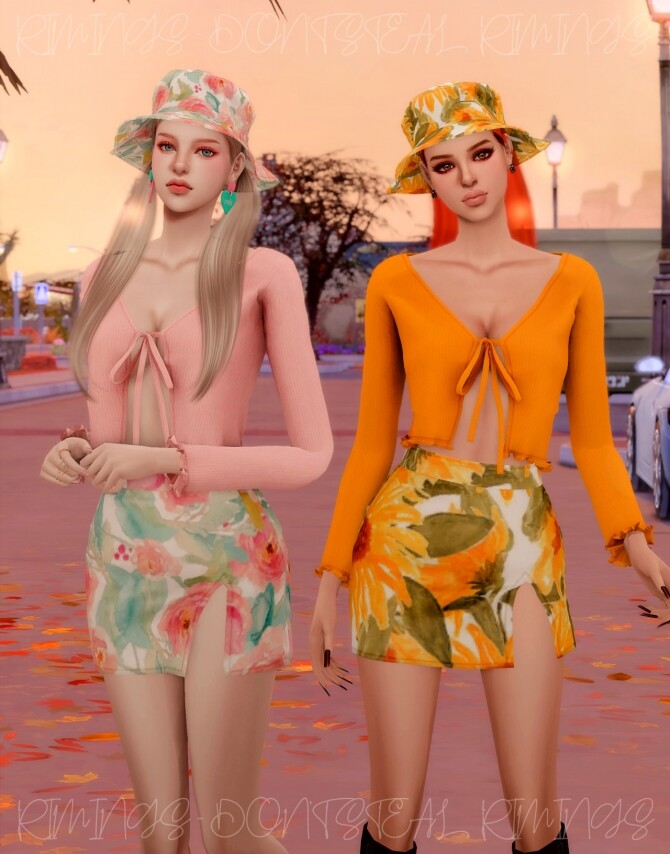 Ribbed Open Cardigan & Floral Open Skirt & Bucket hat at RIMINGs image 4541 670x854 Sims 4 Updates