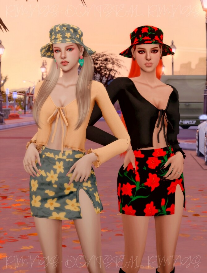 Ribbed Open Cardigan & Floral Open Skirt & Bucket hat at RIMINGs image 4551 670x883 Sims 4 Updates