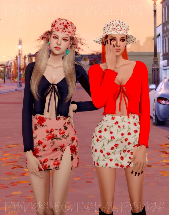 Ribbed Open Cardigan & Floral Open Skirt & Bucket hat at RIMINGs image 4561 670x852 Sims 4 Updates