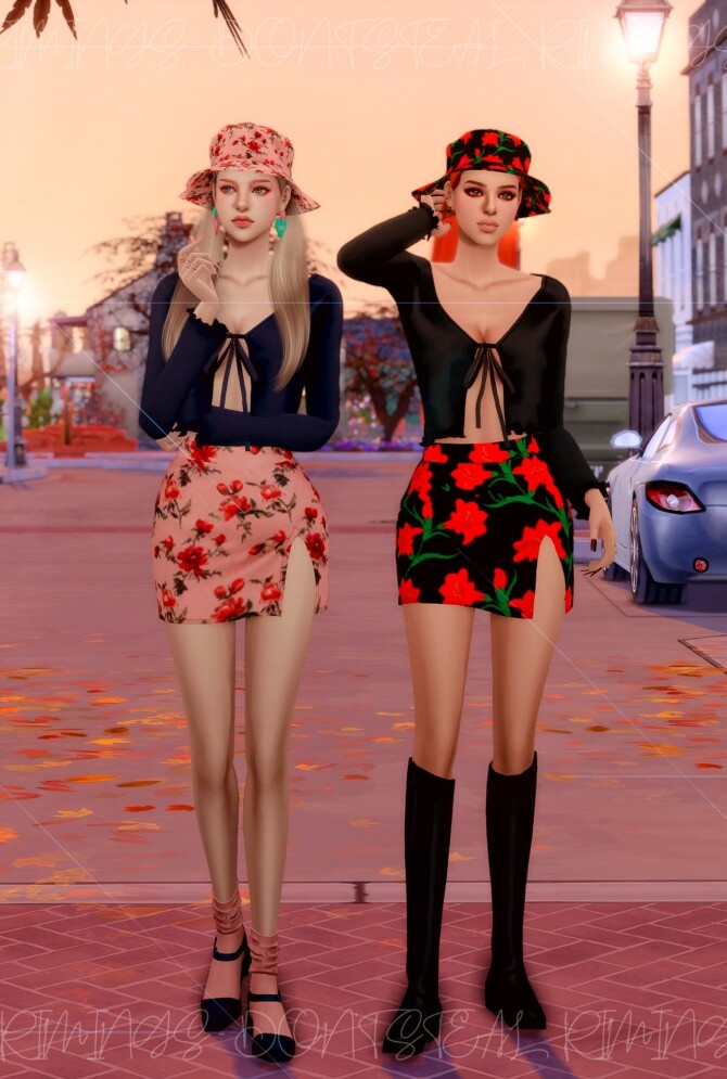 Ribbed Open Cardigan & Floral Open Skirt & Bucket hat at RIMINGs image 457 670x995 Sims 4 Updates