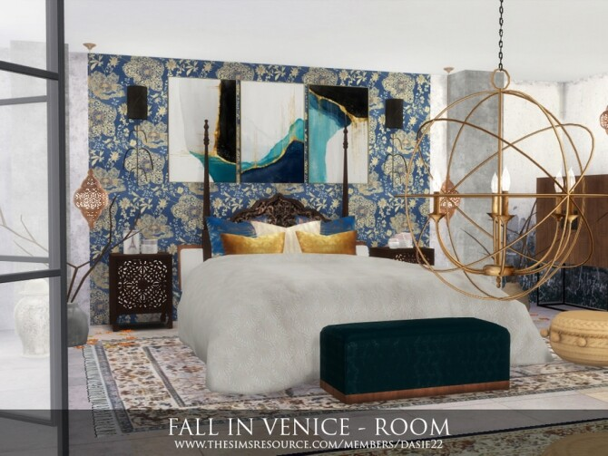 Sims 4 FALL IN VENICE bedroom by dasie2 at TSR