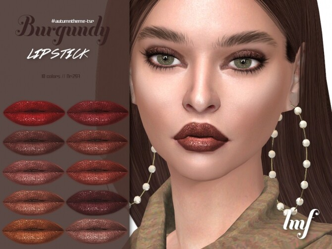 Sims 4 IMF Burgundy Lipstick N.297 by IzzieMcFire at TSR