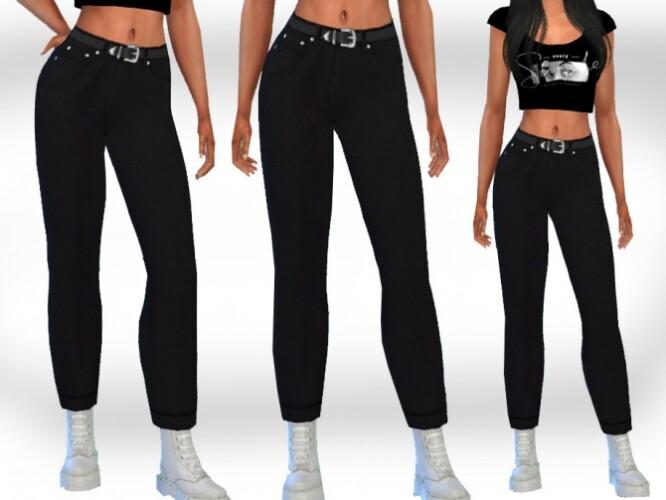 Black Mom Jeans with Belt by Saliwa