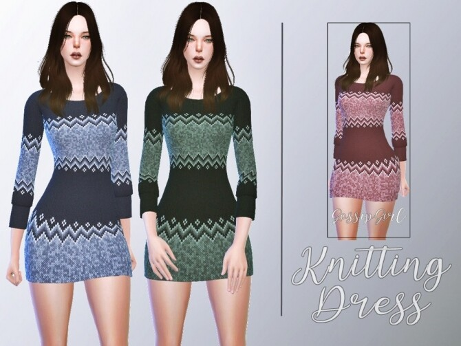 Sims 4 Knitting Dress by GossipGirl S4 at TSR
