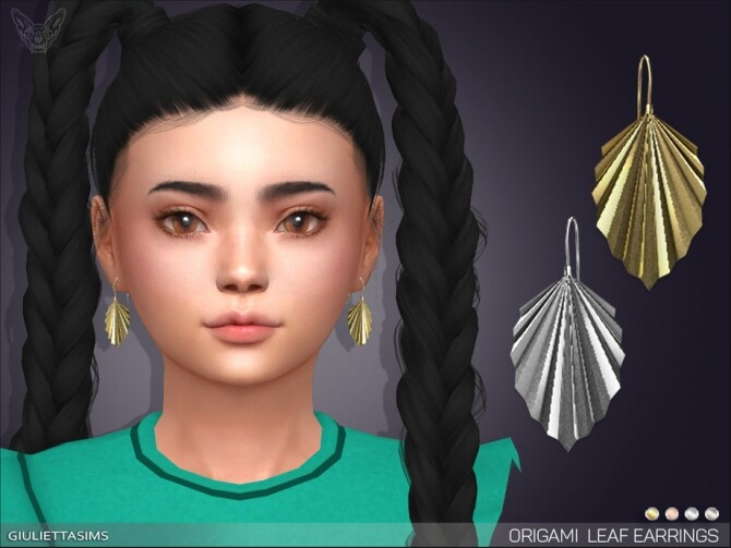 Origami Leaf Earrings For Kids by feyona at TSR image 5211 670x503 Sims 4 Updates