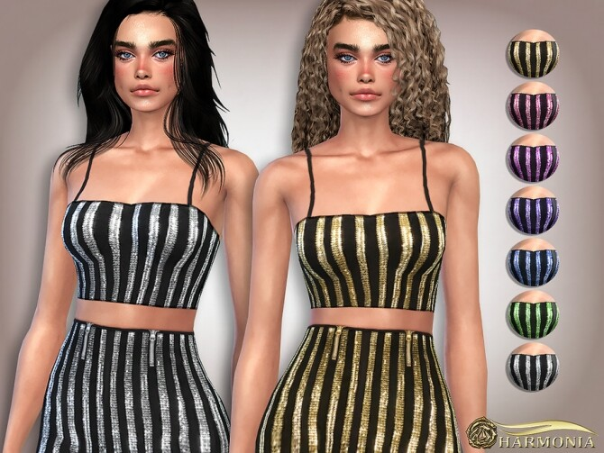 Sims 4 Sequin Spaghetti Straps Crop Top by Harmonia at TSR