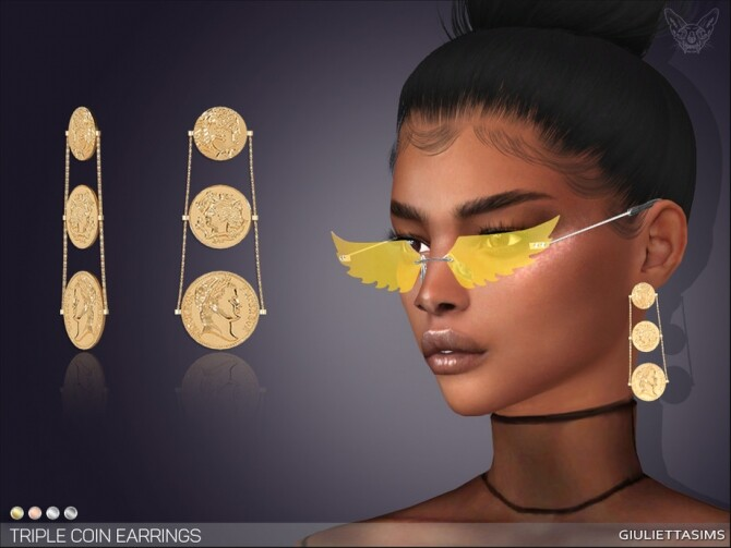 Sims 4 Triple Coin Earrings by feyona at TSR