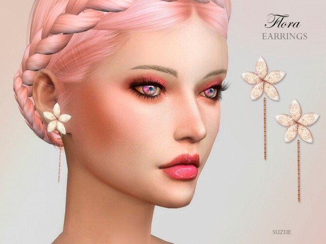 Sims 4 Flora Earrings by Suzue at TSR