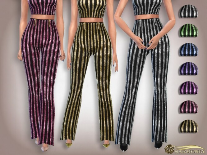 Sequin High-waisted Flare Pants by Harmonia