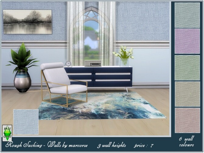 Sims 4 Rough Sacking Walls by marcorse at TSR