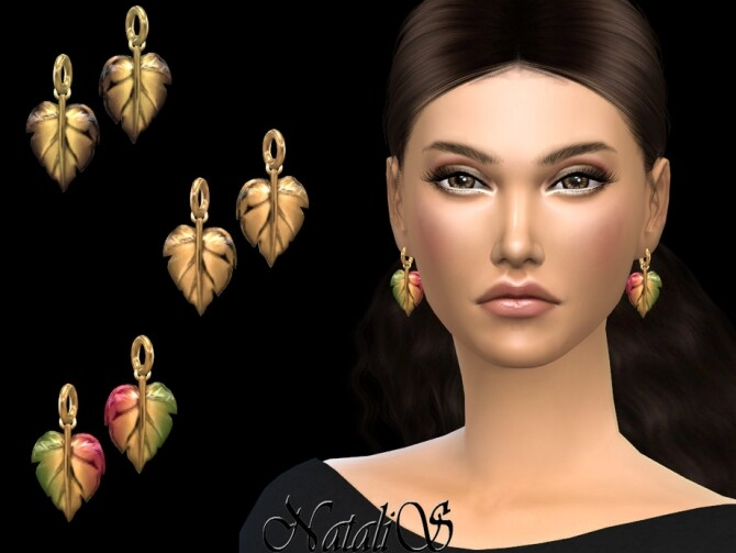 Sims 4 Autumn leaf earrings by NataliS at TSR