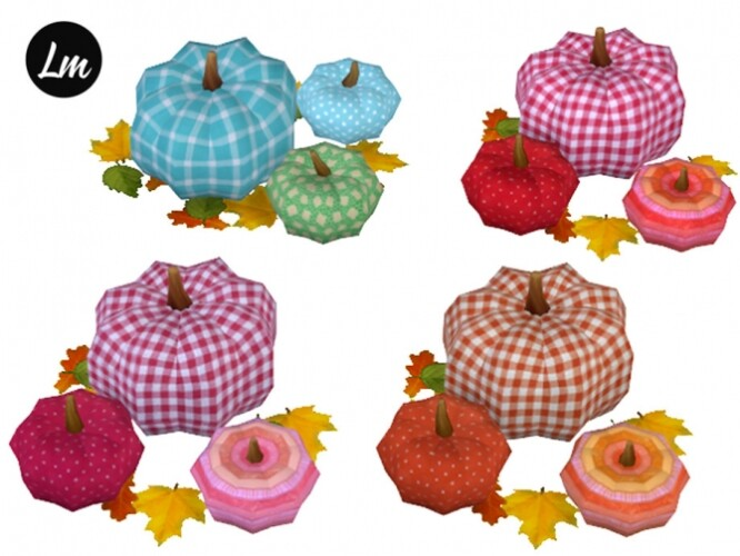 Fabric pumpkins in 6 swatches by Lucy Muni