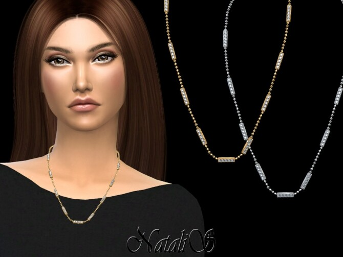 Sims 4 Diamond bar necklace by NataliS at TSR