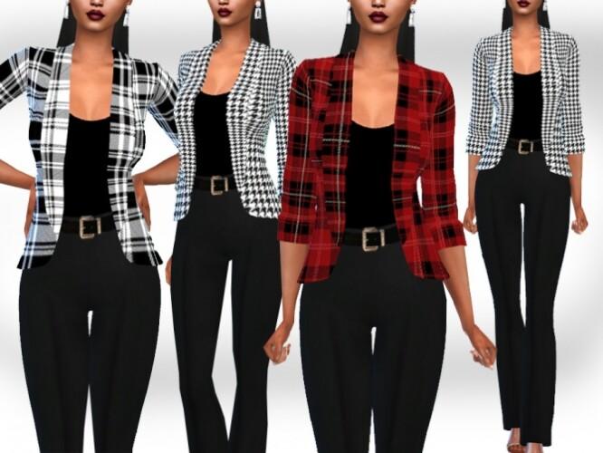 Plaid Patterned Blazer Jackets by Saliwa