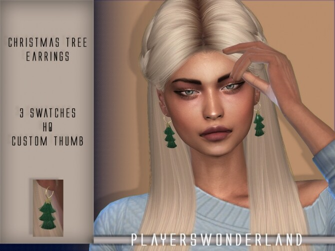 Christmas Tree Earrings by PlayersWonderland at TSR image 619 670x503 Sims 4 Updates