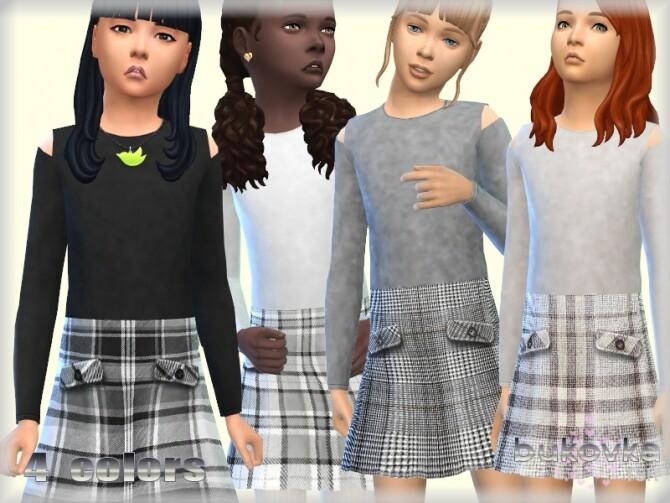 Sims 4 Plaid Dress by bukovka at TSR