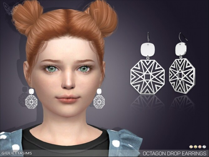 Octagon Drop Earrings For Kids by feyona