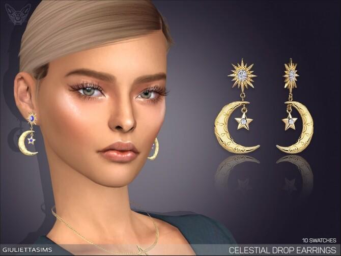 Sims 4 Celestial Drop Earrings by feyona at TSR